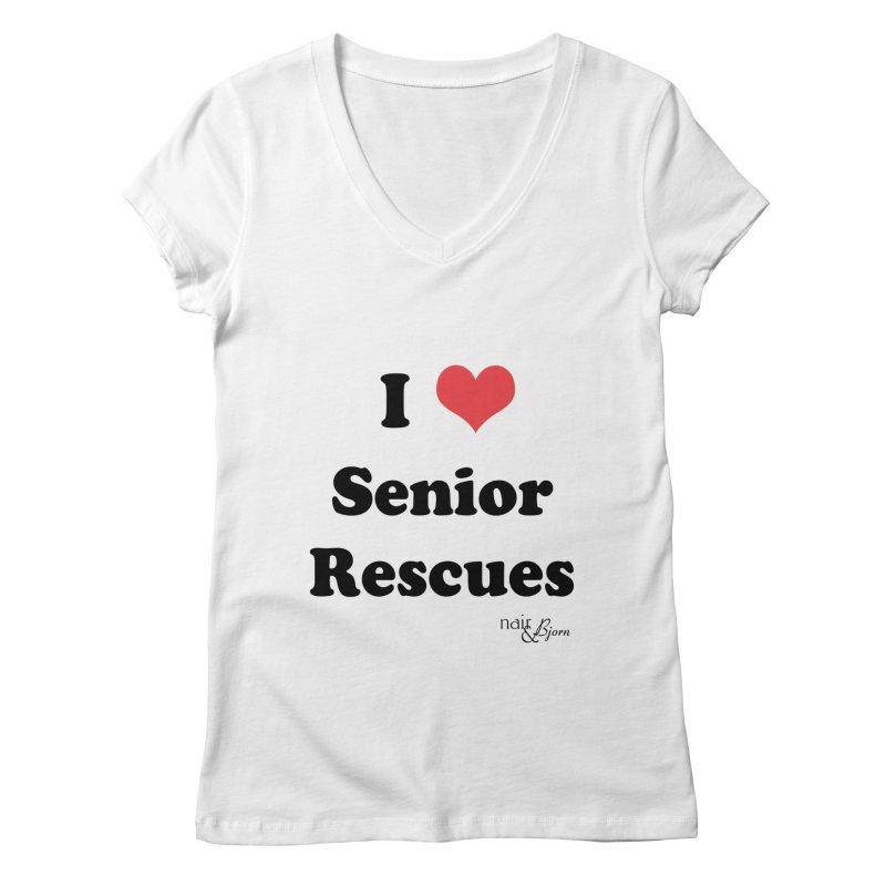 I ♥ Senior Rescues Women's Regular V-Neck by Nair & Bjorn Threadless Shop