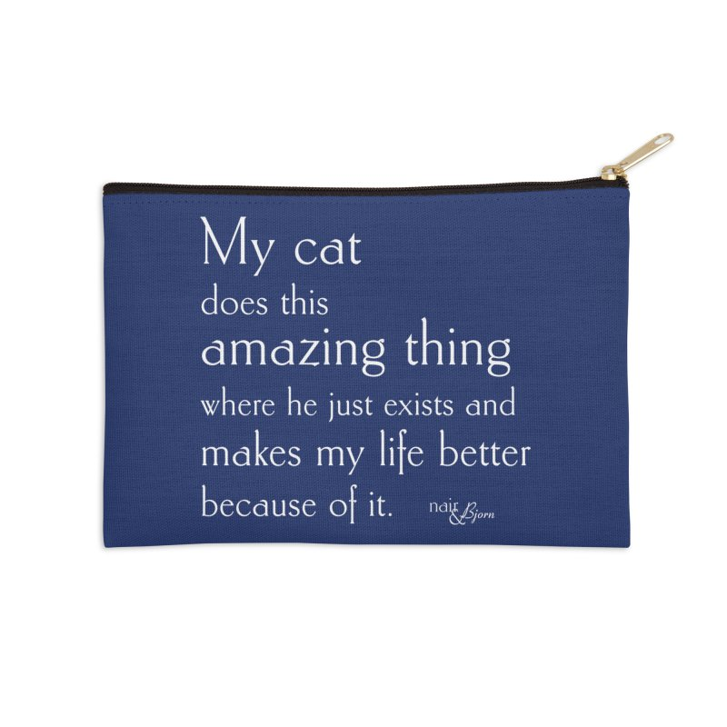 My Cat Does This Amazing Thing (He) Accessories Zip Pouch by Nair & Bjorn Threadless Shop