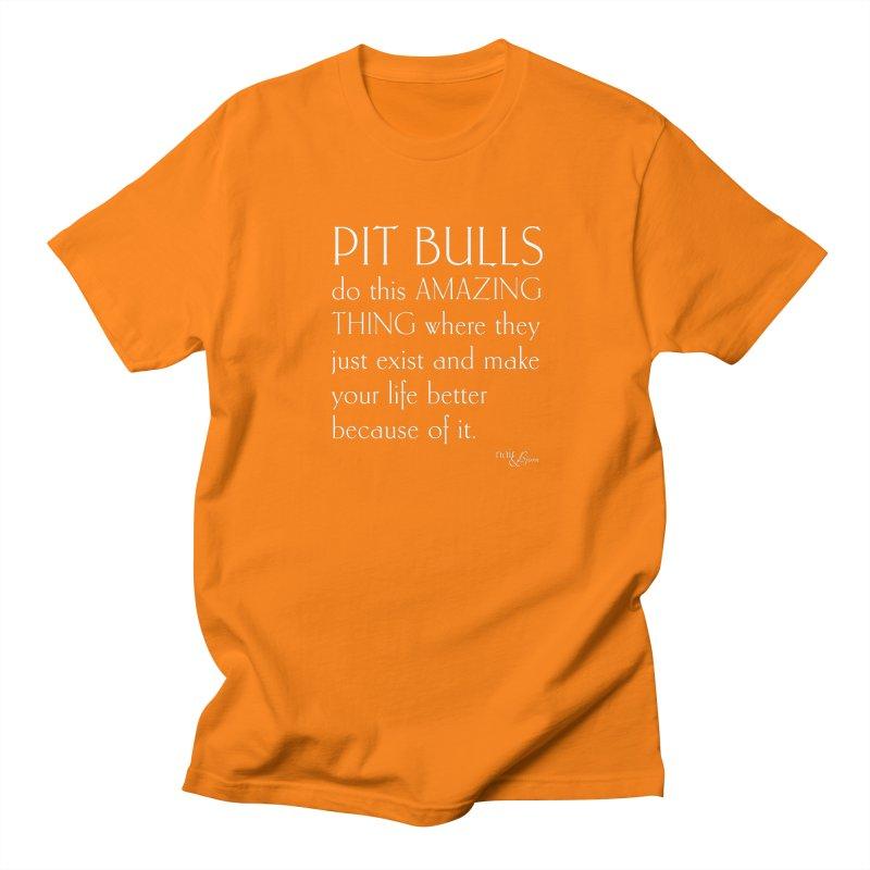 Pit Bulls Do This Amazing Thing in Men's Regular T-Shirt Orange by Nair & Bjorn Threadless Shop