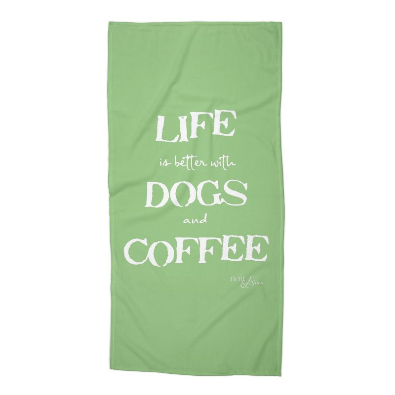 Life is Better with Dogs and Coffee Accessories Beach Towel by Nair & Bjorn Threadless Shop