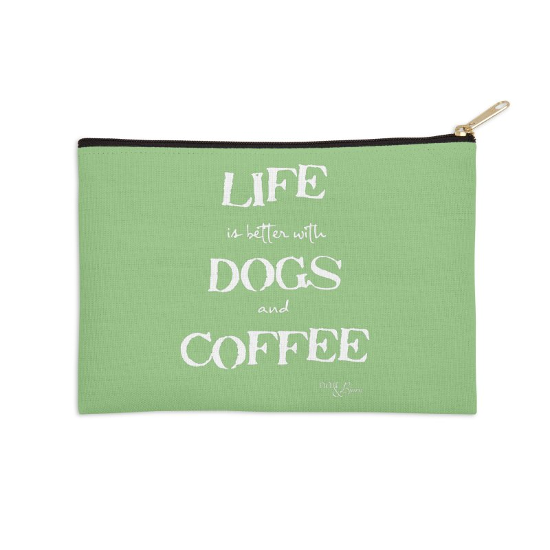 Life is Better with Dogs and Coffee Accessories Zip Pouch by Nair & Bjorn Threadless Shop