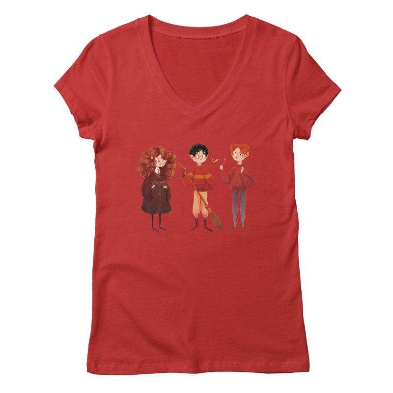 Friendship and Bravery Women's V-Neck by nanlawson's Artist Shop