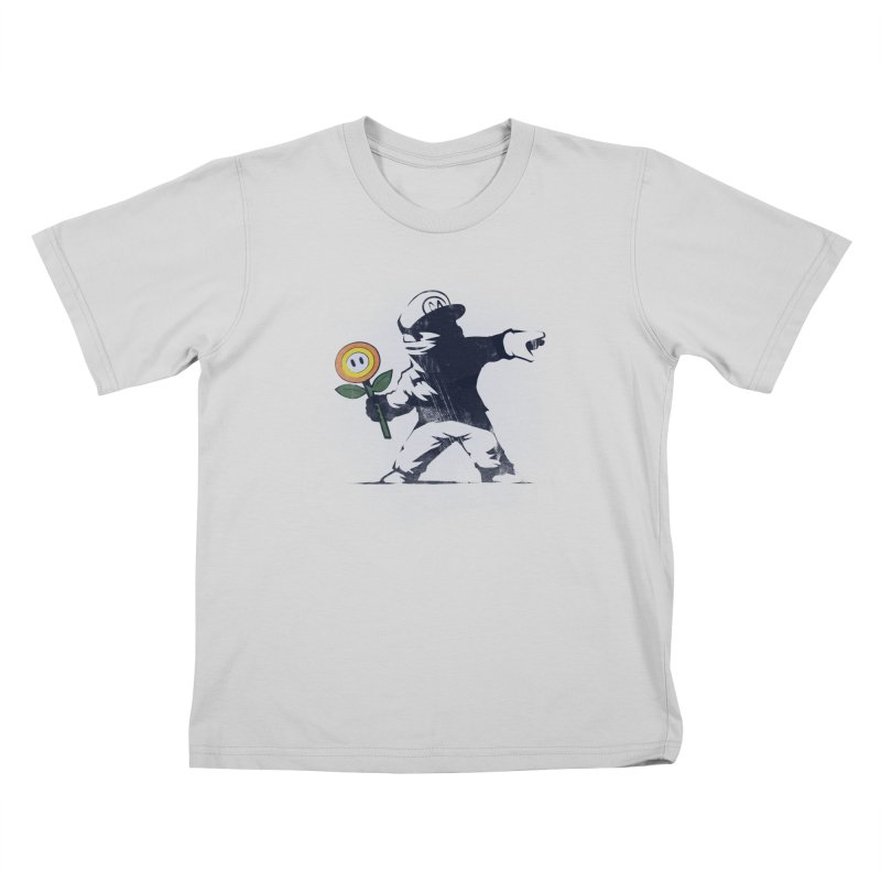 Banksy Flower Kids T-Shirt by Naolito