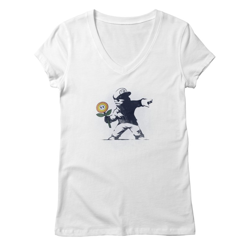 Banksy Flower Women's V-Neck by Naolito