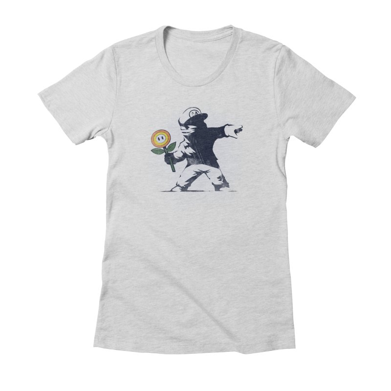 Banksy Flower Women's Fitted T-Shirt by Naolito