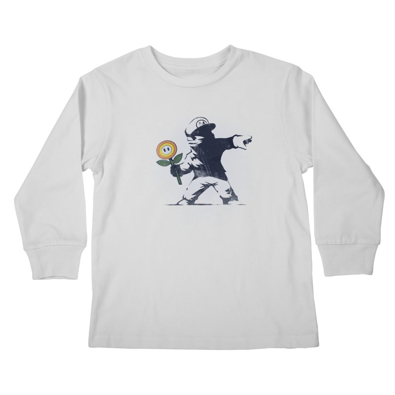 Banksy Flower Kids Longsleeve T-Shirt by Naolito
