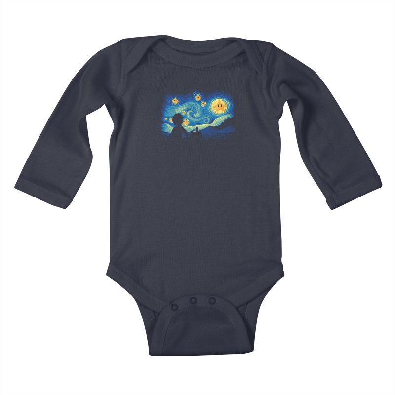 Super Starry Night Kids Baby Longsleeve Bodysuit by Naolito