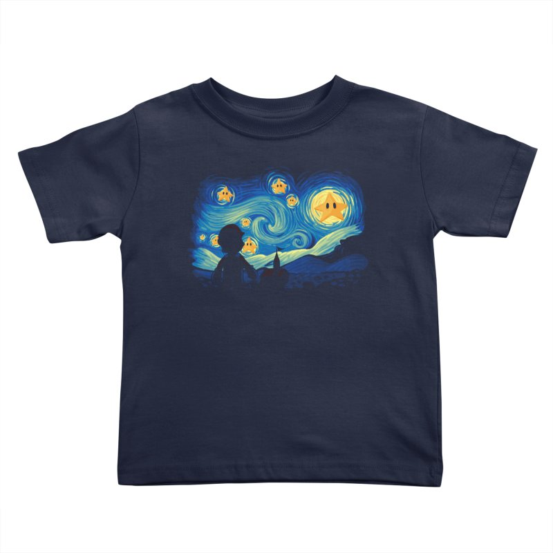 Super Starry Night Kids Toddler T-Shirt by Naolito