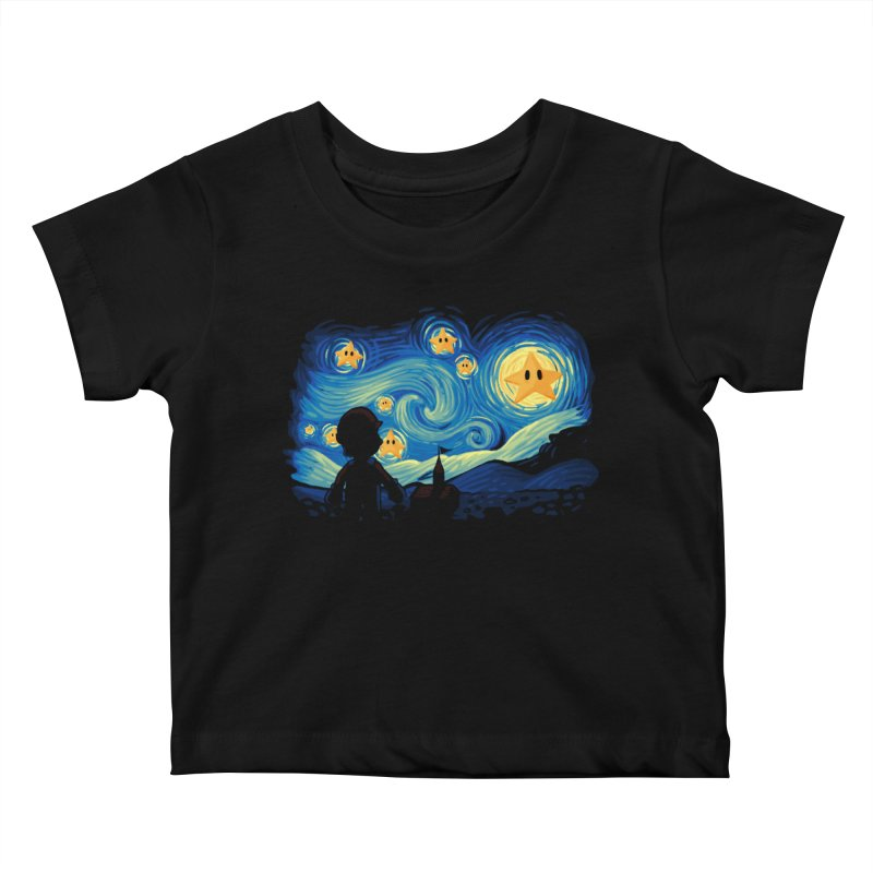 Super Starry Night Kids Baby T-Shirt by Naolito
