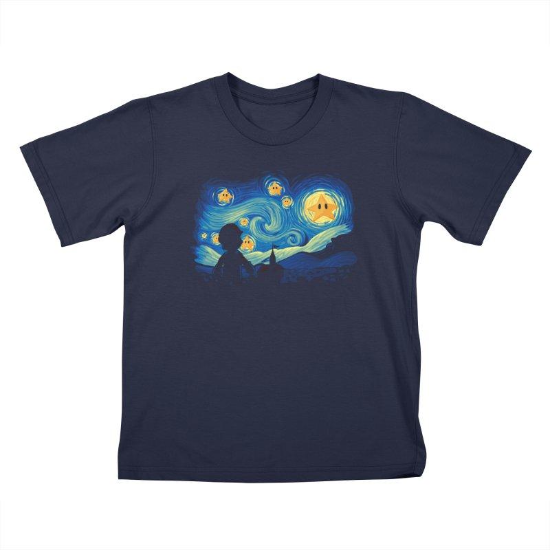 Super Starry Night Kids T-Shirt by Naolito