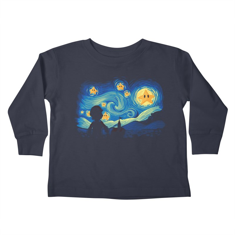 Super Starry Night Kids Toddler Longsleeve T-Shirt by Naolito