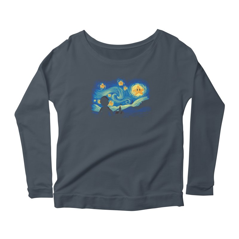 Super Starry Night Women's Longsleeve Scoopneck  by Naolito