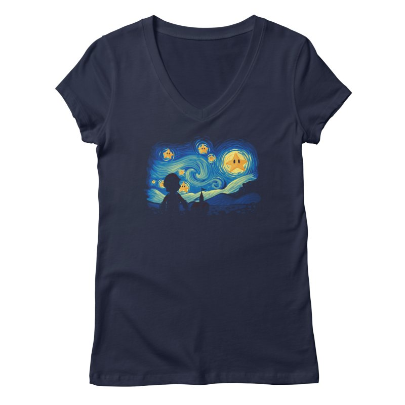 Super Starry Night Women's V-Neck by Naolito
