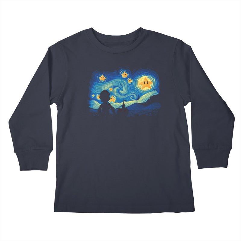 Super Starry Night Kids Longsleeve T-Shirt by Naolito