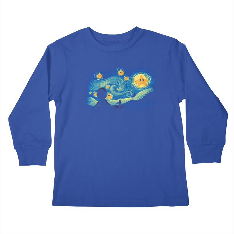 Super Starry Night Kids Longsleeve T-Shirt by Naolito
