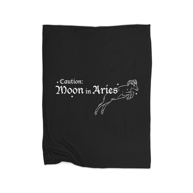 Caution: Moon in Aries Home Blanket by Naomi Mariko Creates