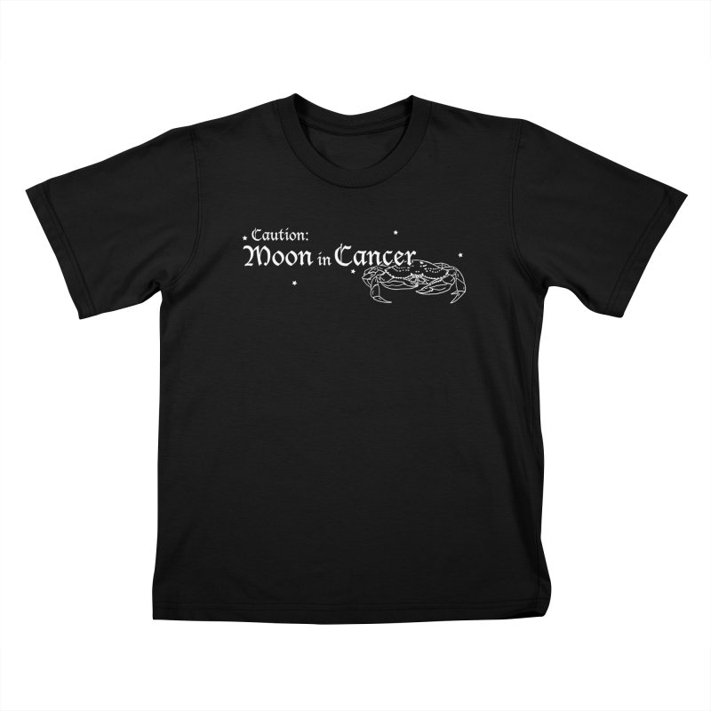 Caution: Moon in Cancer Kids T-Shirt by Naomi Mariko Creates