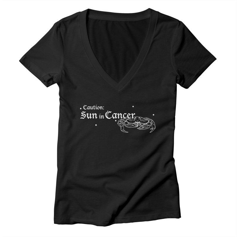 Caution: Sun in Cancer Women's V-Neck by Naomi Mariko Creates