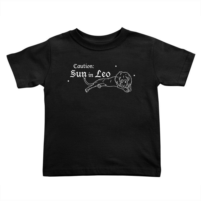 Caution: Sun in Leo Kids Toddler T-Shirt by Naomi Mariko Creates