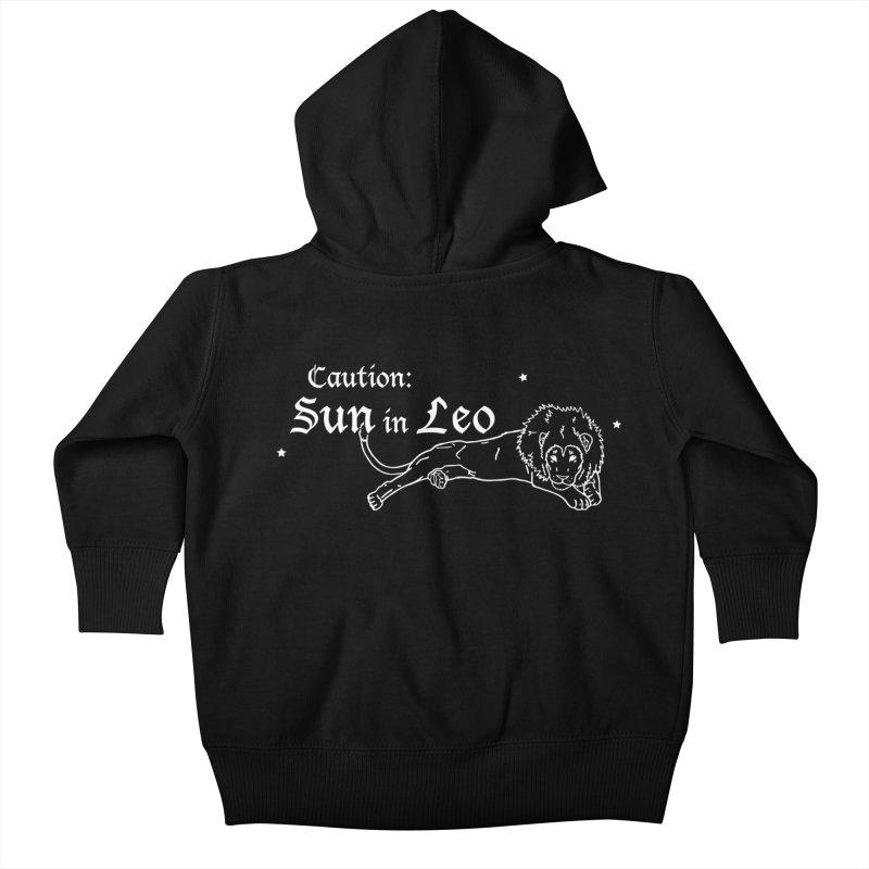 Caution: Sun in Leo Kids Baby Zip-Up Hoody by Naomi Mariko Creates