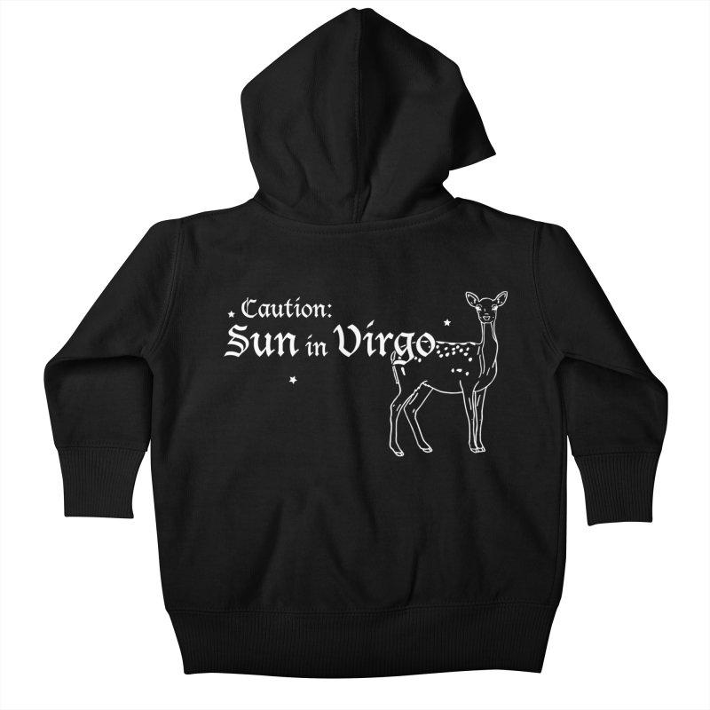 Caution: Sun in Virgo Kids Baby Zip-Up Hoody by Naomi Mariko Creates