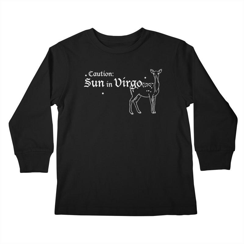 Caution: Sun in Virgo Kids Longsleeve T-Shirt by Naomi Mariko Creates