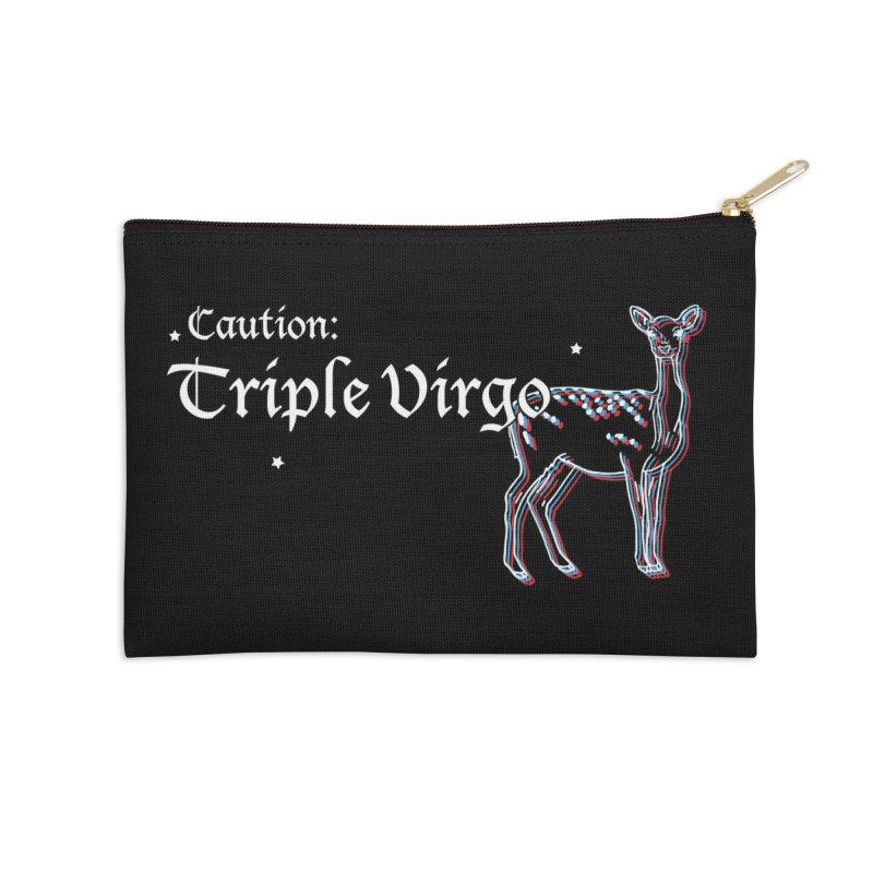 Caution: Triple Virgo Accessories Zip Pouch by Naomi Mariko Creates