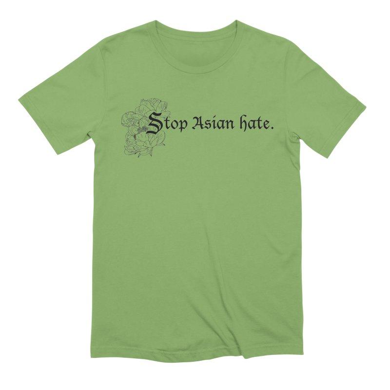Stop Asian Hate - Black Peonies Men's T-Shirt by Naomi Mariko Creates