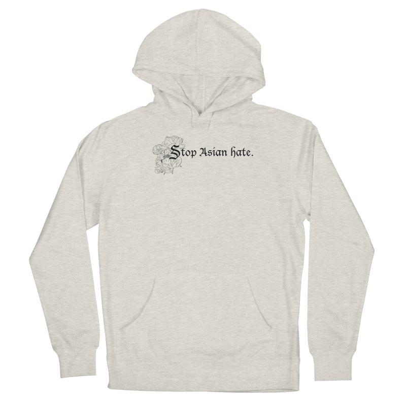 Stop Asian Hate - Black Peonies Men's Pullover Hoody by Naomi Mariko Creates