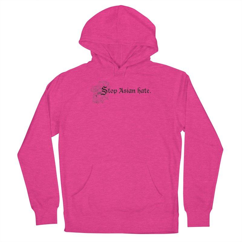 Stop Asian Hate - Black Peonies Women's Pullover Hoody by Naomi Mariko Creates