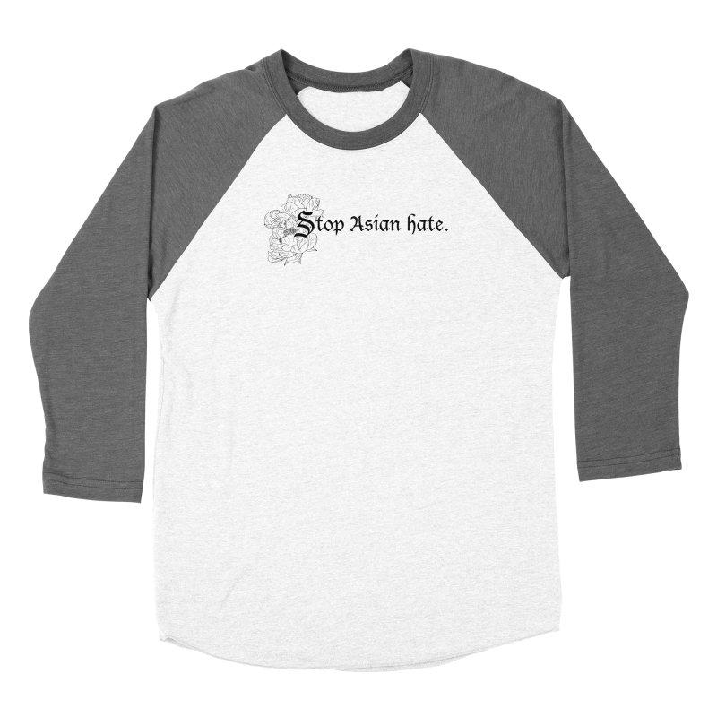 Stop Asian Hate - Black Peonies Women's Longsleeve T-Shirt by Naomi Mariko Creates