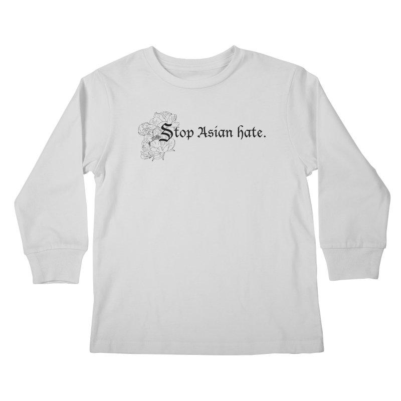 Stop Asian Hate - Black Peonies Kids Longsleeve T-Shirt by Naomi Mariko Creates