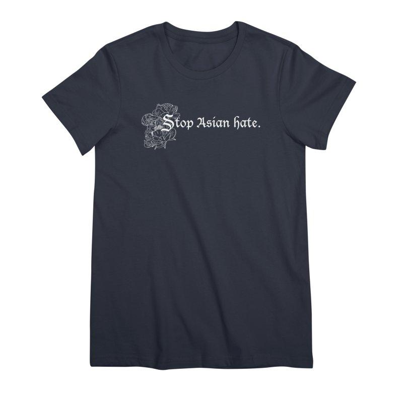 Stop Asian Hate - White Peonies Women's T-Shirt by Naomi Mariko Creates