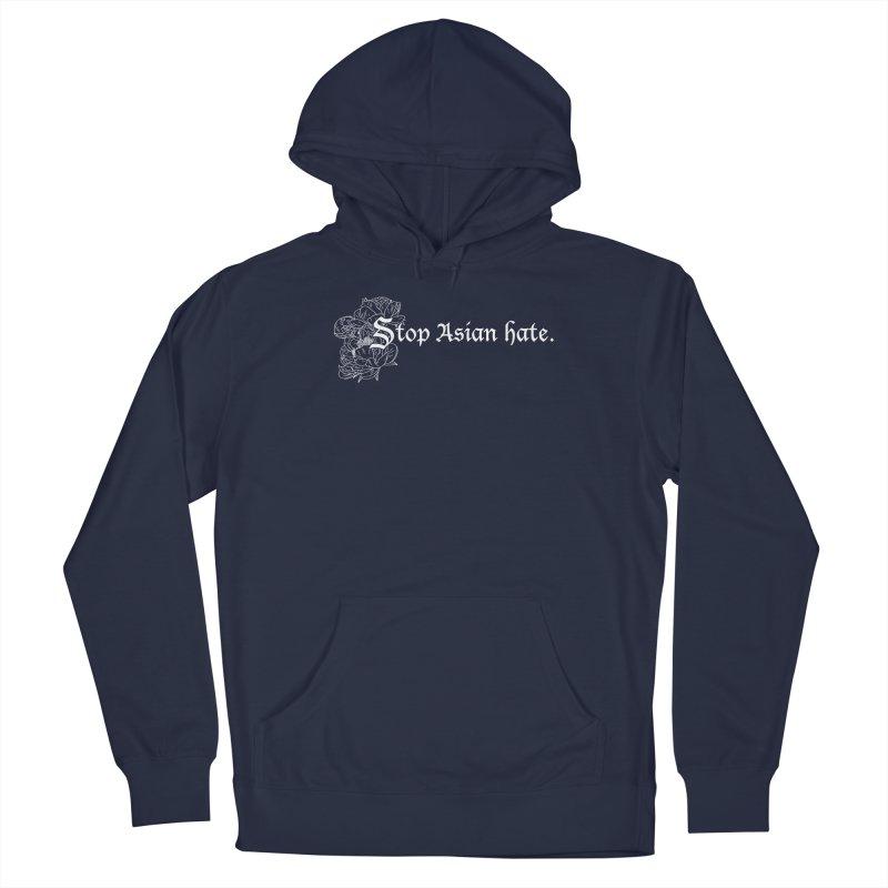 Stop Asian Hate - White Peonies Men's Pullover Hoody by Naomi Mariko Creates