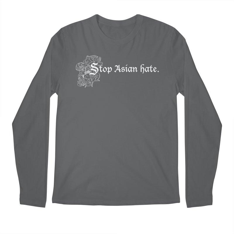 Stop Asian Hate - White Peonies Men's Longsleeve T-Shirt by Naomi Mariko Creates