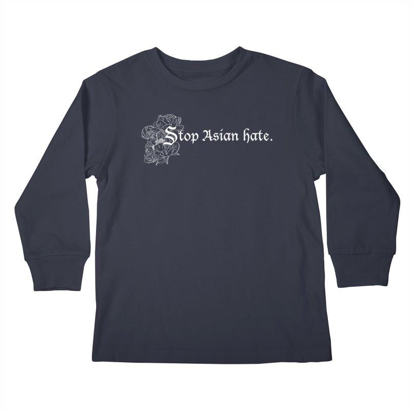 Stop Asian Hate - White Peonies Kids Longsleeve T-Shirt by Naomi Mariko Creates