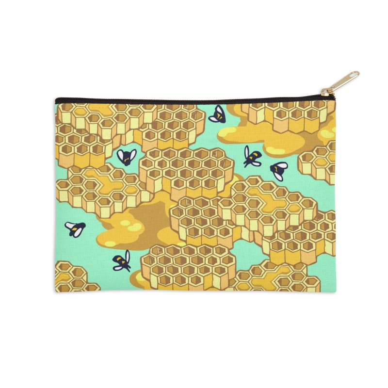 Bees and Honeycomb Accessories Zip Pouch by bad arithmetic