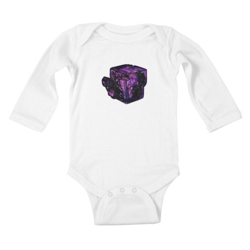 Purple Flourite Kids Baby Longsleeve Bodysuit by Natalie McKean