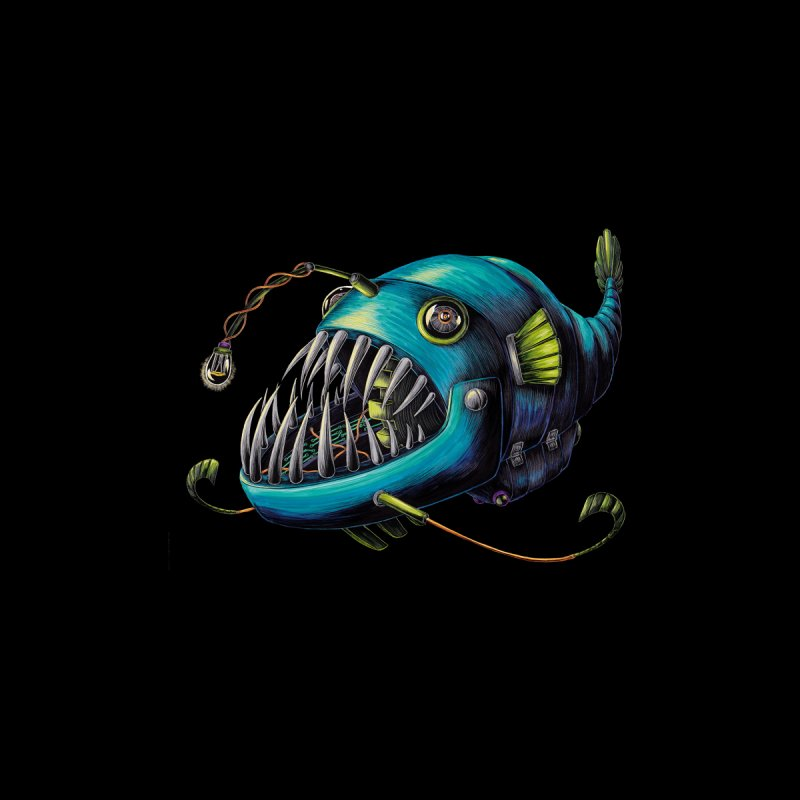 Anglerfish Kids T-Shirt by Natalie McKean