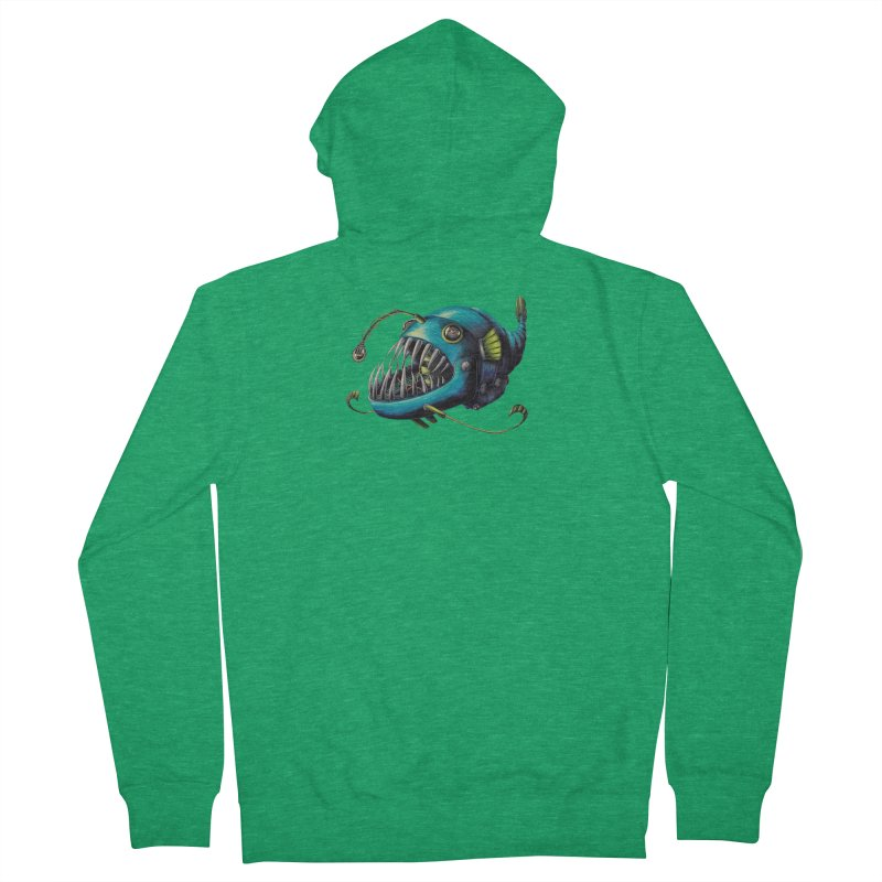 Anglerfish Men's French Terry Zip-Up Hoody by Natalie McKean