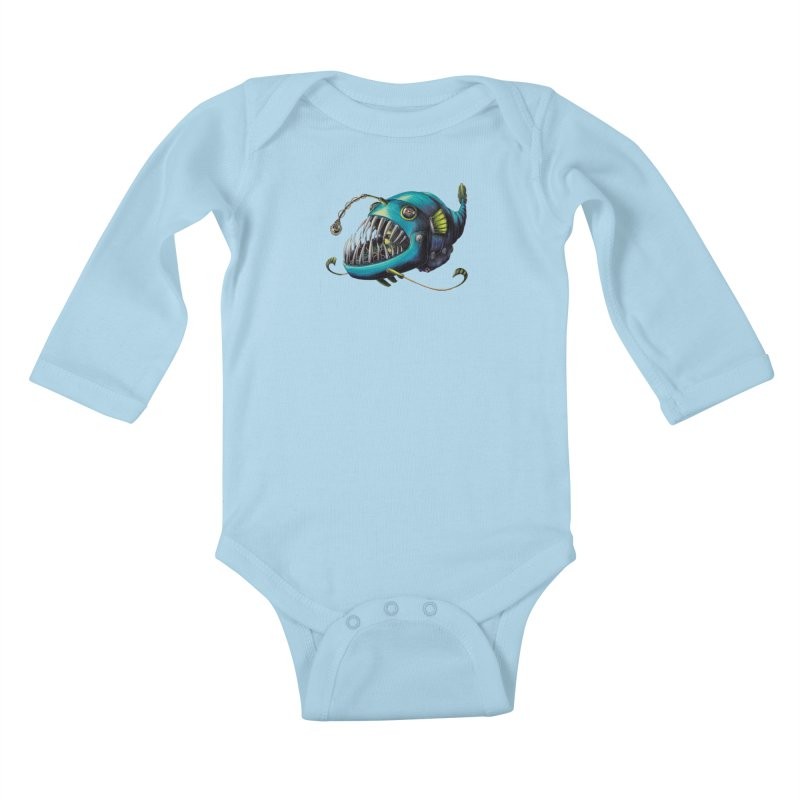 Anglerfish Kids Baby Longsleeve Bodysuit by Natalie McKean