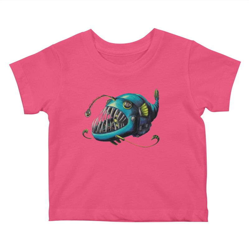 Anglerfish Kids Baby T-Shirt by Natalie McKean