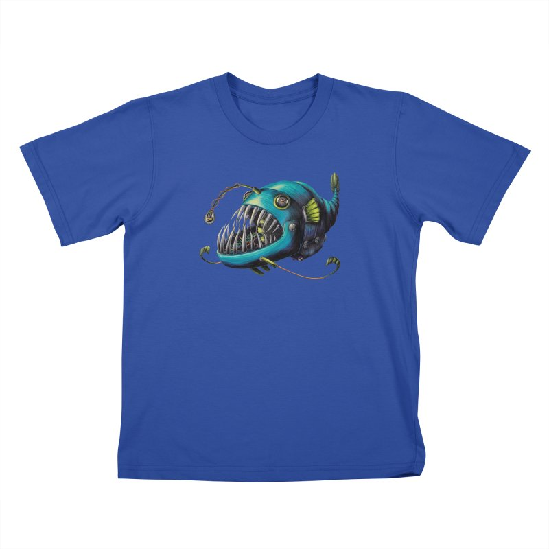 Anglerfish Kids T-Shirt by Natalie McKean