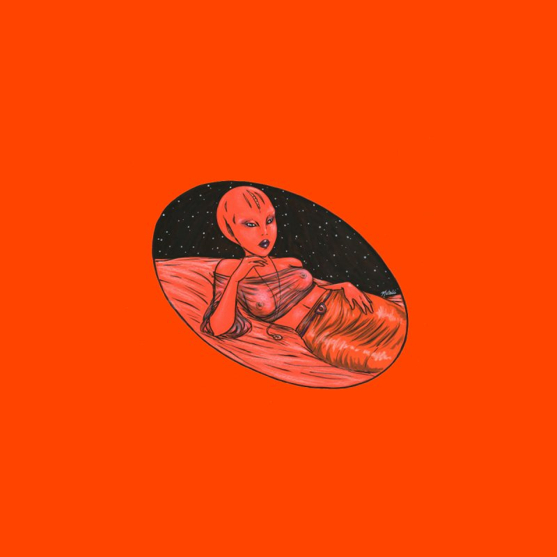 Red Alien 1 Accessories Sticker by Natalie McKean