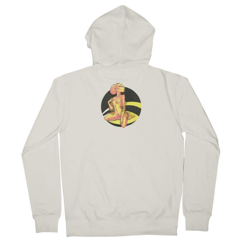 Yellow Alien 1 Men's French Terry Zip-Up Hoody by Natalie McKean