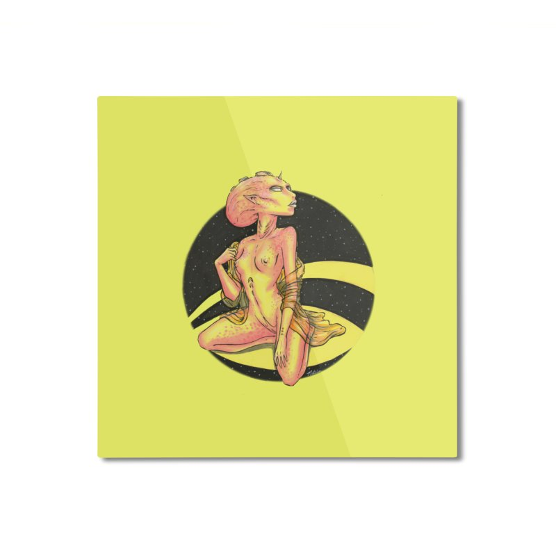 Yellow Alien 1 Home Mounted Aluminum Print by Natalie McKean