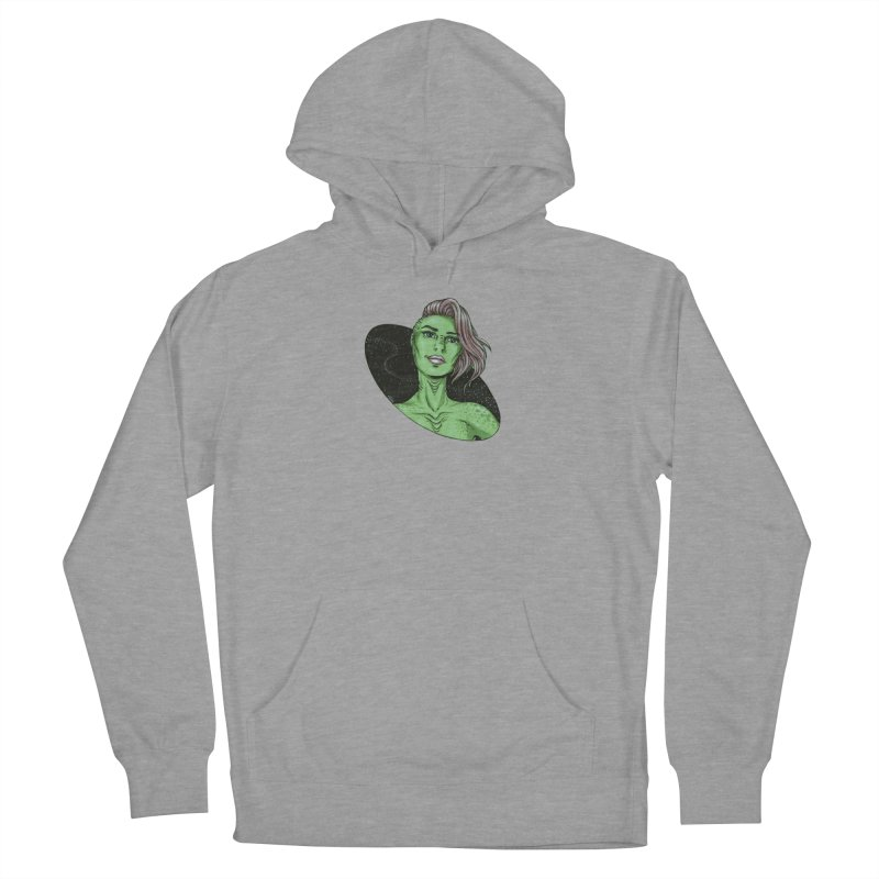Green Alien 1 Women's French Terry Pullover Hoody by Natalie McKean