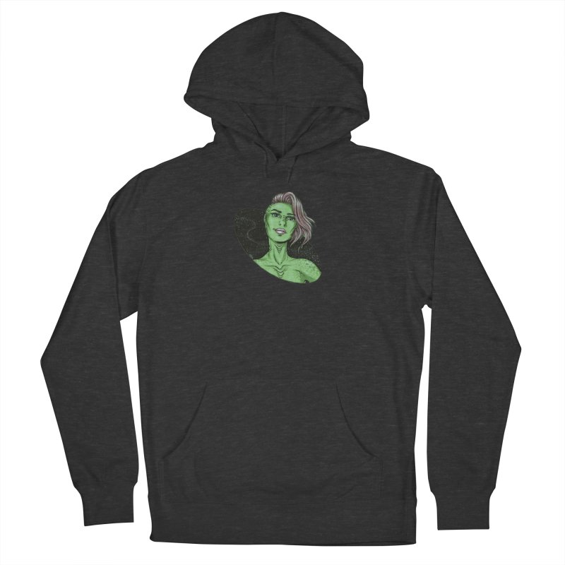 Green Alien 1 Men's French Terry Pullover Hoody by Natalie McKean