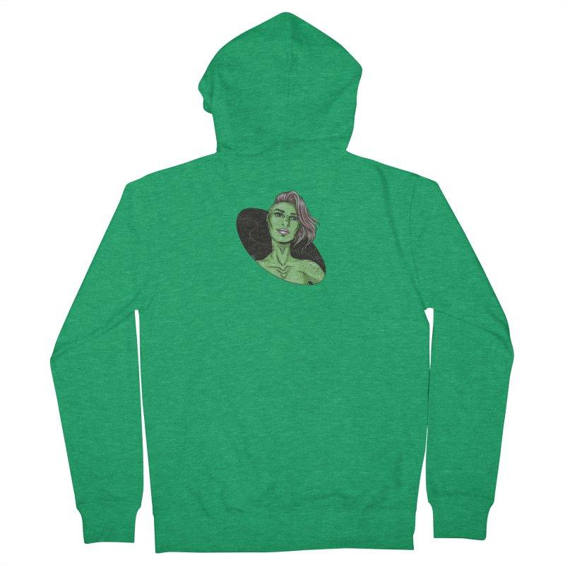 Green Alien 1 Women's French Terry Zip-Up Hoody by Natalie McKean