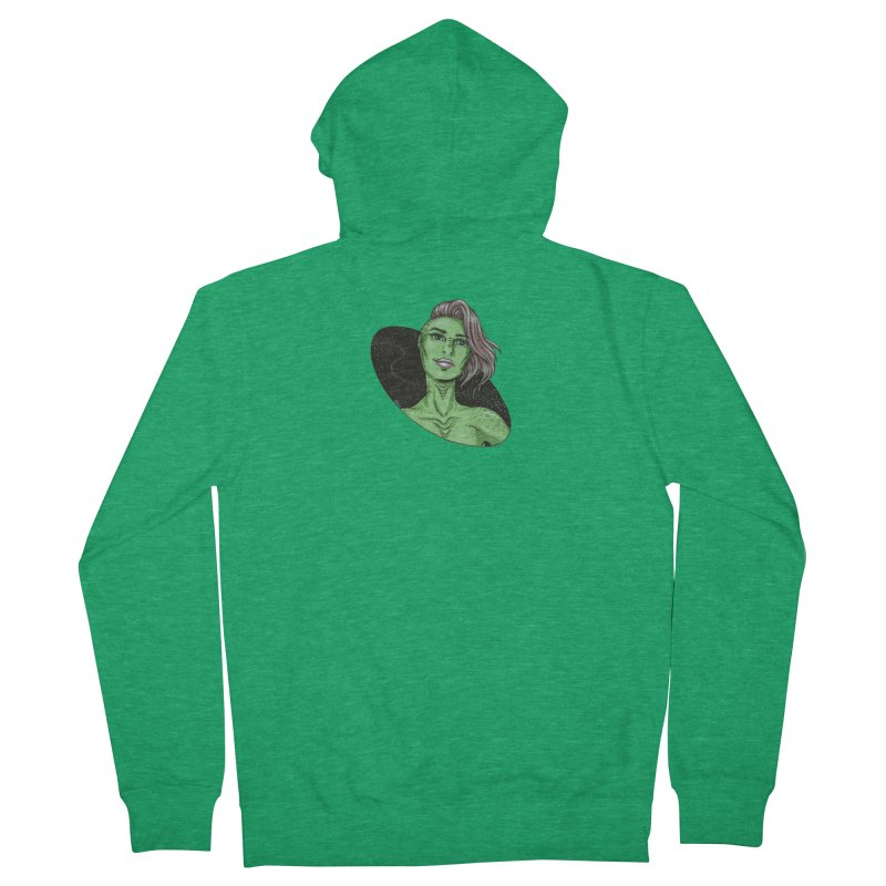 Green Alien 1 Men's Zip-Up Hoody by Natalie McKean